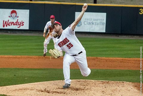 Austin Peay Baseball starting pitcher Josh Rye throws seven shutout innings to lead Govs to 4-0 win over Southern Illinois, Tuesday night. (APSU Sports Information)