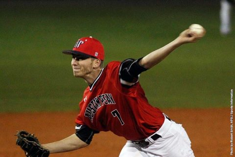 Austin Peay Baseball pitcher John Sparks holds Western Kentucky scoreless through four innings in Governors win Wednesday night. (APSU Sports Information)