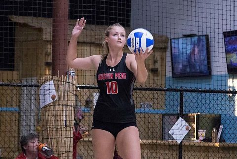 Austin Peay Beach Volleyball takes care of UT Martin Wednesday at Franklin Beach House. (APSU Sports Information)