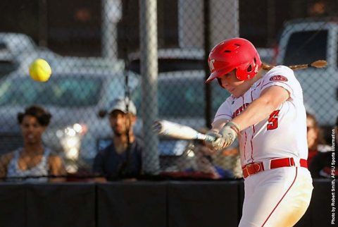 Austin Peay Softball sophomore third baseman Danielle Liermann gets 100th career hit against TSU Wednesday. (APSU Sports Information)