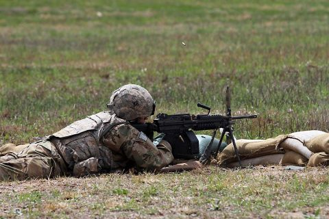 A Soldier from the 101st Airborne Division (Air Assault) Sustainment Brigade, 101st Abn. Div., fires during a live-fire range, April 3, 2017, on Fort Campbell, Kentucky. Companies were evaluated on their performance during a live-fire exercise as part of the brigade field training exercise. (Sgt. Neysa Canfield/101st Airborne Division Sustainment Brigade Public Affairs)