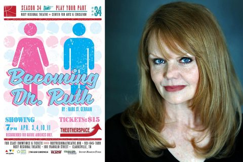 "Jama Bowen stars as pioneering radio and television sex therapist Dr. Ruth Westheimer in the Roxy Regional Theatre's theotherspace production of ""Becoming Dr. Ruth"", playing April 3rd - April 11th"