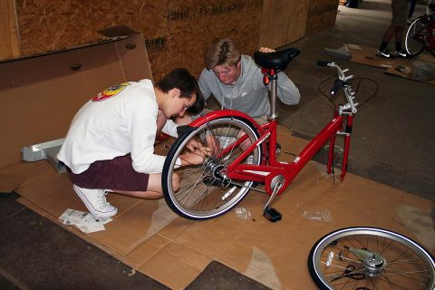 Clarksville Academy student assembles a new BCycle for the City of Clarksville bike-sharing program.