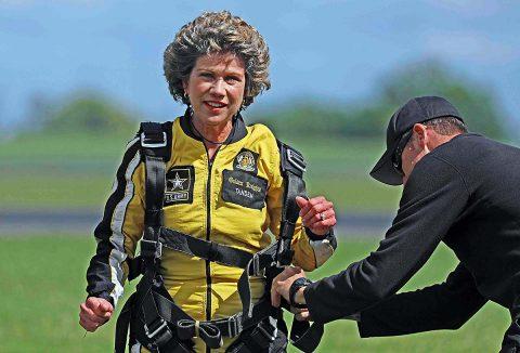 Clarksville Mayor Kim McMillan after the tandem sky dive.