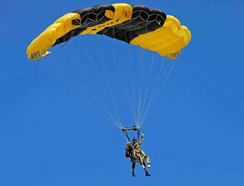 Clarksville Mayor Kim McMillan tandem sky dives with Golden Knights Clarksville Regional Airport.