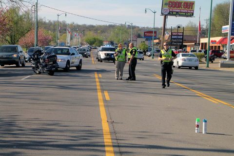 Clarksville Police work motorcycle accident on Riverside Drive Wednesday afternoon.