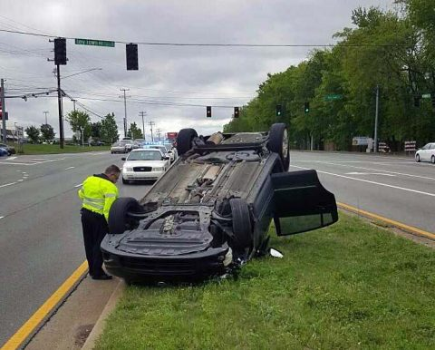 Hyundai Tuscon struck the center median on Fort Campbell Boulevard and Tiny Town Road and rolled over. (CPD Officer Ciupka)