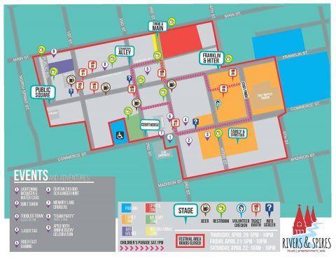 Clarksville Rivers and Spires Event Map