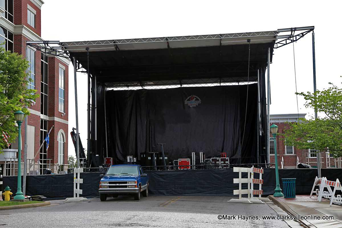 The Rivers and Spires Public Square Stage being prepared for tonights events.