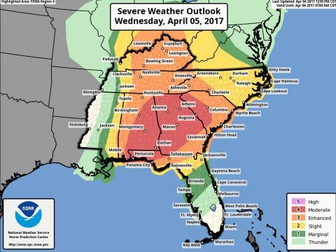 Severe Thunderstorms across Clarksville-Tennessee Wednesday, April 5th
