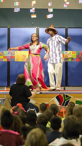 A trio of Panamanian dancers, Elisabeth Adamski, Shanida Hatcher and Vicky Shuler, performed a couple of traditional dances for the students at Barsanti Elementary School March 24, 2017, during their International Day celebration. (Mari-Alice Jasper, Fort Campbell Public Affairs Office)