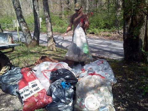 Volunteers gather to clean-up the trails at Turkey Bay OHV Area at Land Between the Lakes. (Forest Service staff)