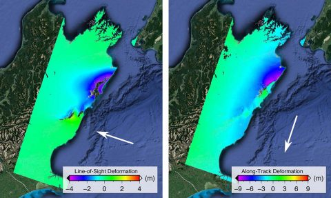 Two ALOS-2 satellite images show ground displacements from the Nov. 2016 Kaikoura earthquake as colors proportional to the surface motion in two directions. The purple areas in the left image moved up and east 13 feet (4 meters); purple areas in the right image moved north up to 30 feet (9 meters). (NASA/JPL-Caltech/JAXA)