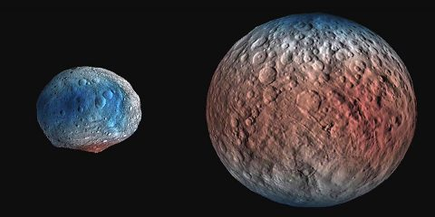 NASA's Dawn spacecraft determined the hydrogen content of the upper yard, or meter, of Ceres' surface. Blue indicates where hydrogen content is higher, near the poles, while red indicates lower content at lower latitudes. Vesta on the left, Ceres on the right. (NASA/JPL-Caltech/UCLA/MPS/DLR/IDA/PSI)