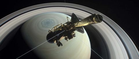This artist's rendering shows NASA's Cassini spacecraft above Saturn's northern hemisphere, heading toward its first dive between Saturn and its rings on April 26, 2017. (NASA/JPL-Caltech)