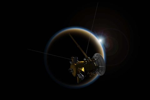 Cassini will make its final close flyby of Saturn's moon Titan on April 21st (PDT), using its radar to reveal the moon's surface lakes and seas one last time. (NASA/JPL-Caltech)