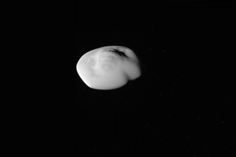This unprocessed image of Saturn's moon Atlas was taken on April 12, 2017, by NASA's Cassini spacecraft. (NASA/JPL-Caltech/Space Science Institute)