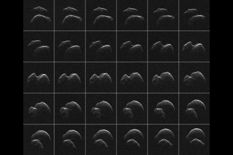 This composite of 30 images of asteroid 2014 JO25 was generated with radar data collected using NASA's Goldstone Solar System Radar in California's Mojave Desert. (NASA/JPL-Caltech/GSSR)