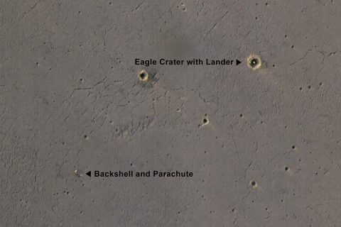 The bright landing platform left behind by NASA's Mars Exploration Rover Opportunity in 2004 is visible inside Eagle Crater, at upper right in this April 8, 2017, observation by NASA's Mars Reconnaissance Orbiter. (NASA/JPL-Caltech/Univ. of Arizona)