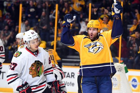 Nashville Predators will look to sweep Stanley Cup Champion Chicago Blackhawks Thursday night at Bridgestone Arena. (Christopher Hanewinckel-USA TODAY Sports)