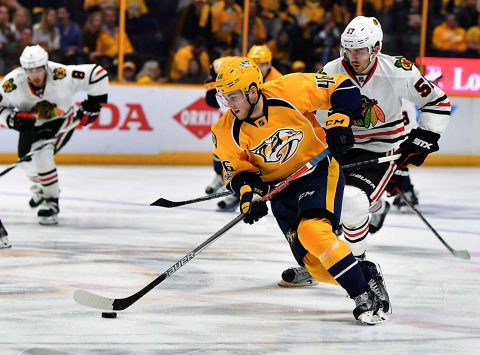 Nashville Predators left winger Pontus Aberg (46) skates with the puck during the second period against the Chicago Blackhawks in game four of the first round of the 2017 Stanley Cup Playoffs at Bridgestone Arena. (Christopher Hanewinckel-USA TODAY Sports)