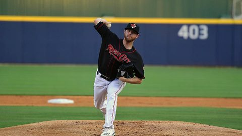 Light bank goes out in eighth inning with the game tied at one run apiece. (Nashville Sounds)