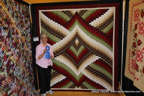 "Barbara Randall won 1st place for Traditional Bed Quilt with ""Lighting Strikes Bargello"" at the 2017 Quilts of the Cumberland Show."