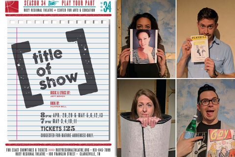 (Top L to R) Jessica Medoff, Grant Fitzgerald, Ryan Bowie and Beth Kirby star in [title of show] at the Roxy Regional Theatre, April 28th - May 13th.