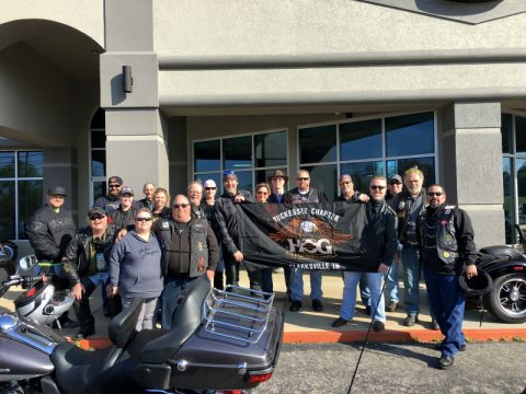 Clarksville Tuckessee Harley Owner's Group at Maker's Mark Distillery.