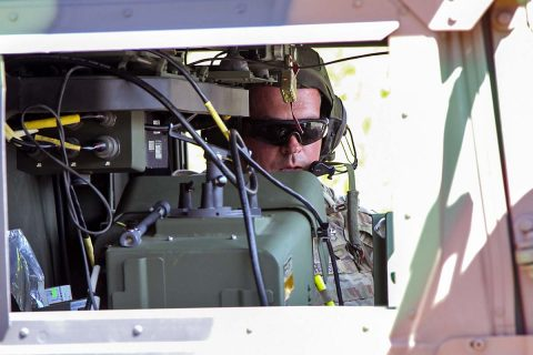 Staff Sgt. Josh Robinson, an air and missile defense crewmember assigned to Battery C, 2nd Battalion, 44th Air Defense Artillery Regiment, 101st Airborne Division (Air Assault) Sustainment Brigade, 101st Abn. Div., reports the status of his crew, April 25, 2017, during a missile upload and download crew drill on Fort Campbell, Kentucky. (Sgt. Neysa Canfield/101st Airborne Division Sustainment Brigade Public Affairs)