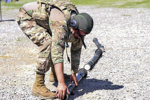 Staff Sgt. Josh Robinson, an air and missile defense crewmember assigned to Battery C, 2nd Battalion, 44th Air Defense Artillery Regiment, 101st Airborne Division (Air Assault) Sustainment Brigade, 101st Abn. Div., inspects a training missile, April 25, 2017, during missile upload and download crew drill on Fort Campbell, Kentucky. (Sgt. Neysa Canfield/101st Airborne Division Sustainment Brigade Public Affairs)