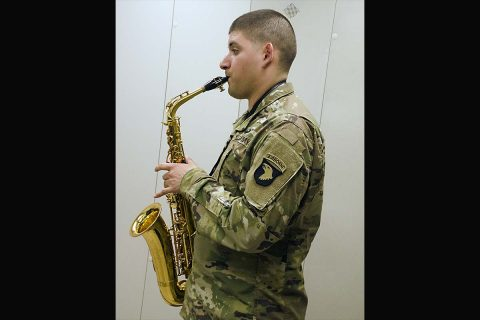 Specialist Ruben Salinas practices playing his saxophone at the 101st Airborne Division Band Hall on 34th Street April 24, 2017. Salinas was named the 2017 Army Soldier-Musician of the Year. He is the second 101st Band member to receive the honor. (Michele Vowell, Fort Campbell Public Affairs Office)