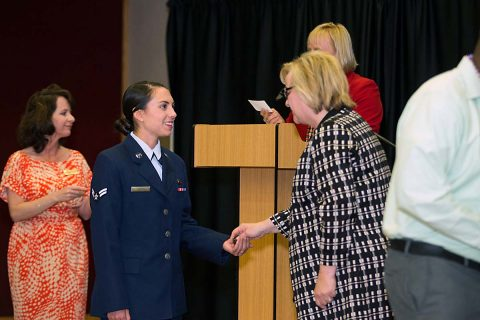 Austin Peay held Coin Presentation Ceremony for military graduates Wednesday, May 3rd, 2017. (Henry Kilpatrick, APSU)