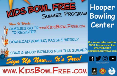 Fort Campbell's Hooper Bowling Center to take part in the 2017 Kids Bowl Free program.