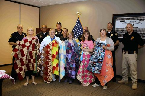 224 Hand-Made Trunk Quilts were donated to the Clarksville Police Department by local quilters.