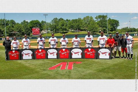 Austin Peay Baseball recognized eight seniors before Sunday's game. (APSU Sports Information)