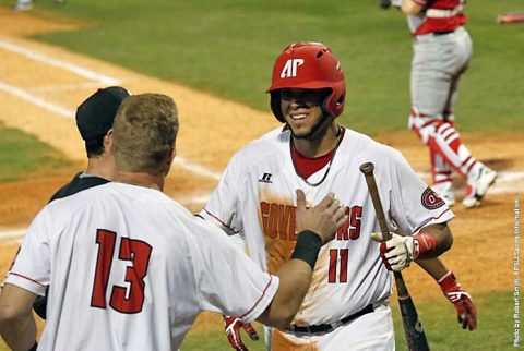 Austin Peay Baseball senior Dre Gleason hits his 11th home run of the season Thursday night at Vanderbilt Commodores. (APSU Sports Information)
