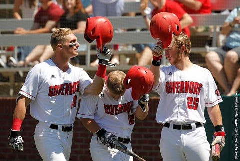 Austin Peay Baseball advances in OVC Tournament with 8-7 win over Jacksonville State, Wednesday. (APSU Sports Information)
