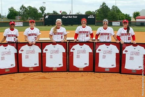 Austin Peay Seniors Rikki Arkansas, Chandler Groves, Allie Blackwood, Autumn Hanners, Christiana Gable, and Sidney Hooper were celebrated before the game. (APSU Sports Information)