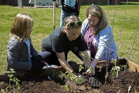 Haven Bowles teaching students to plant