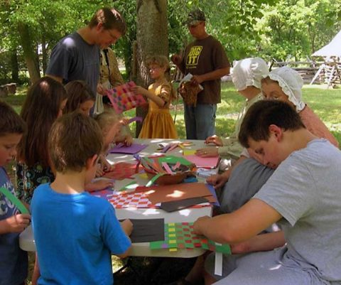 Children learn to weave at Land Between the Lakes. (LBL)