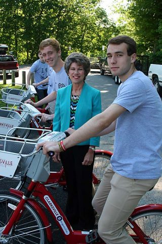 Clarksville Mayor Kim McMillan celebrates growing bike-share service.