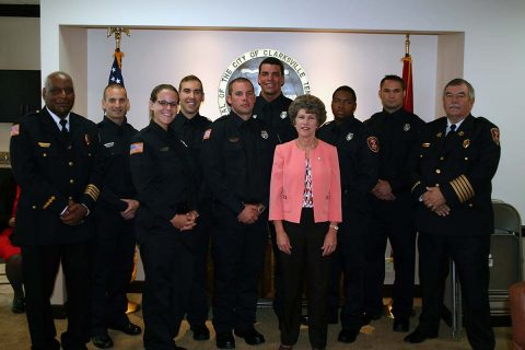 Deputy Fire Chief Ray Williams, left, Clarksville Mayor Kim McMillan and Fire Chief Mike Roberts joined to welcome seven new firefighters to Clarksville Fire Rescue on Friday, May 12th. The new firefighers are Brooklyn Lyle, Robert Bruce, Josh Banker, Luke Culwell, Sean Humphries, Ja'Kyari Jenkins and Michael Johns.