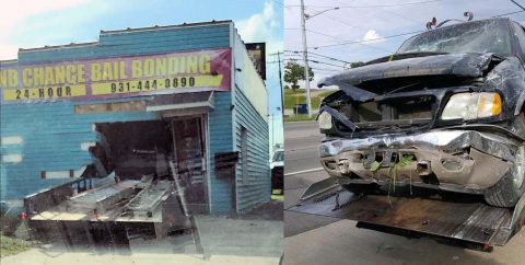 A 2001 Ford Expedition with a trailer leaves the roadway and crashes into a building on Providence Boulevard.