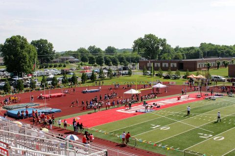 The Tennessee Middle School Athletic Association (TMSAA) Track & Field State Championships were held at APSU's Fortera Stadium on Saturday. Pictured here are Discus Throw, Shot Put and the High Jump.
