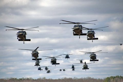 101st Airborne Division (Air Assault) Black Hawk helicopters carrying Soldiers during an operational exercise. (Staff Sgt. Joel Salgado, 3rd BCT Public Affairs)