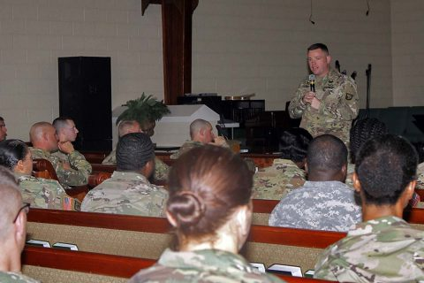 Maj. Jonathan R. Fisher, chaplain for the 101st Airborne Division (Air Assault) Sustainment Brigade, 101st Abn. Div., introduces the guest speaker for the moral leadership training, April 27, 2017, at the Community Chapel on Fort Campbell, Kentucky. The training is part of the brigade's moral leadership program that focuses on different topics that assist leaders in better communicating with their Soldiers. (Sgt. Neysa Canfield/101st Airborne Division Sustainment Brigade Public Affairs)