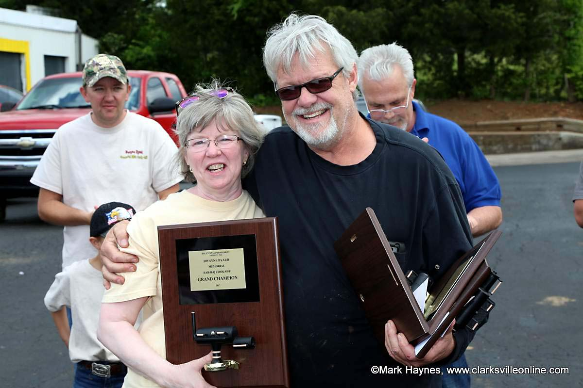 Perry Pratt with The Big Orange Smokers won Grand Champion at Hilltop Supermarket's 2nd annual Dwayne Byard Memorial BBQ Cook Off that was held Saturday.