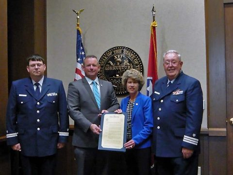 William Welty, Flotilla Commander; Montgomery County Mayor Jim Durrett; City of Clarksville Mayor Kim McMillan; and Fred Gilman, Division 11 Commander, USCG Auxiliary; gathered on May 1st to sign a proclamation designating May 20th-26th as Safe Boating Week.