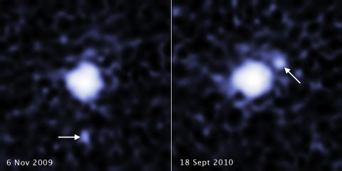 Hubble spots a moon around the dwarf planet 2007 OR10. These two images, taken a year apart, reveal a moon orbiting the dwarf planet 2007 OR10. Each image, taken by the Hubble Space Telescope's Wide Field Camera 3, shows the companion in a different orbital position around its parent body. 2007 OR10 is the third-largest known dwarf planet, behind Pluto and Eris, and the largest unnamed world in the solar system. (NASA, ESA, C. Kiss (Konkoly Observatory), and J. Stansberry (STScI)